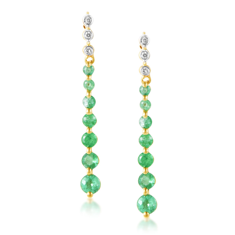 14K Yellow Gold Diamond & Emerald Drop Earrings ER4-14745YEM