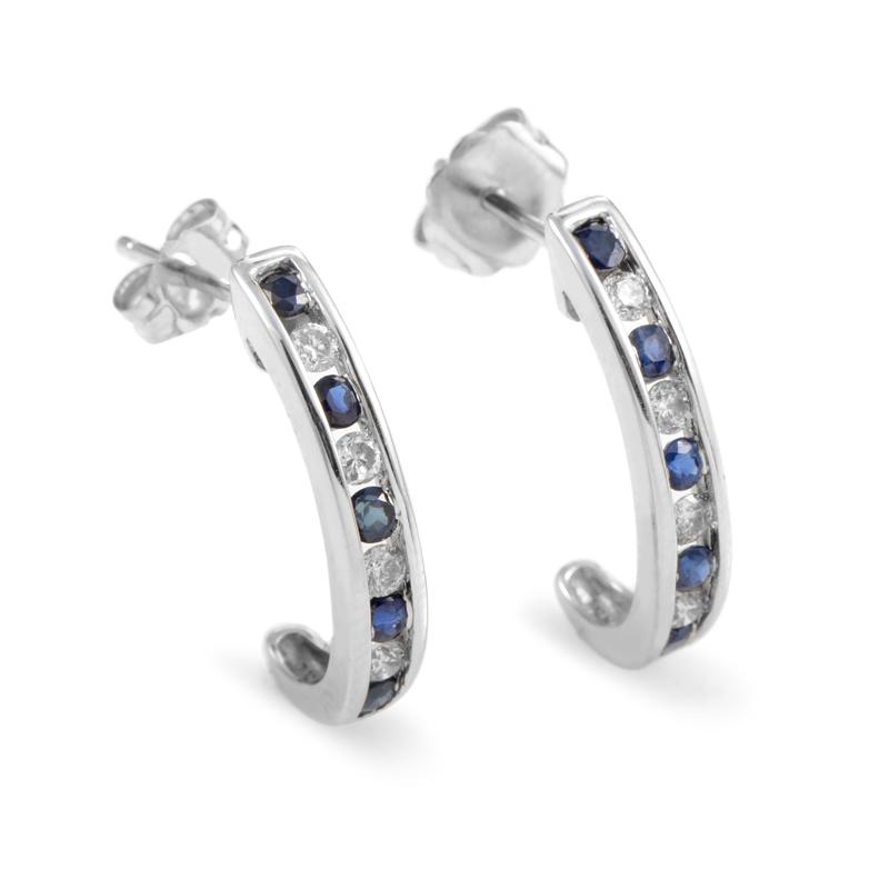 14K White Gold Sapphire & Diamond Earrings ER4-14748WSP