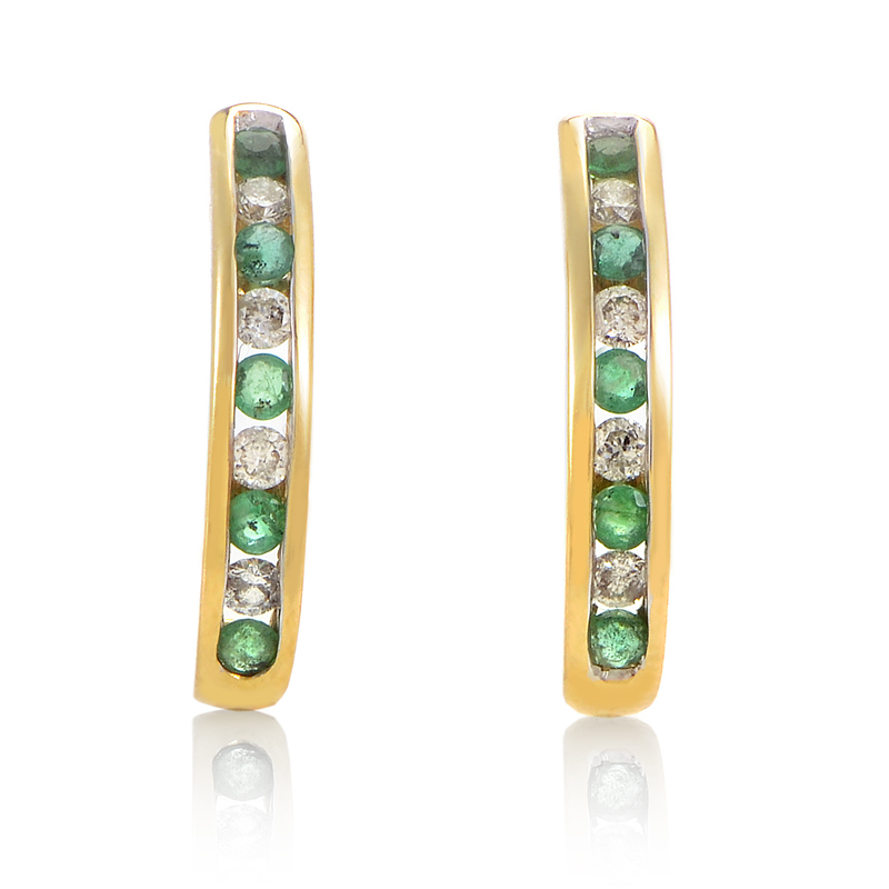 14K Yellow Gold Diamond & Emerald Earrings ER4-14748YEM