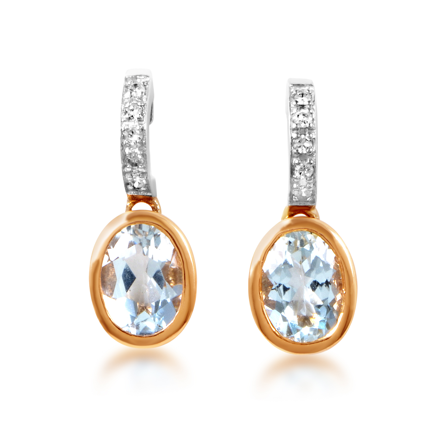 14K Multi-Tone Gold Aquamarine & Diamond Dangle Earrings ER4-14753TTAAQU