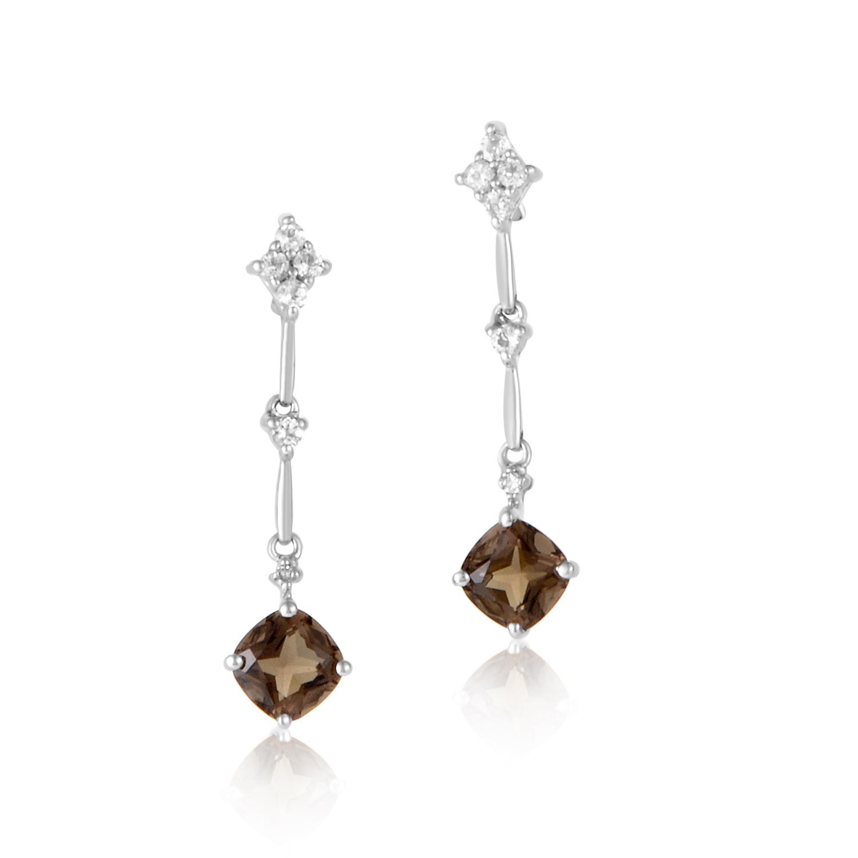 14K White Gold Smokey Topaz & Diamond Dangle Earrings ER4-14790WASMTPZ