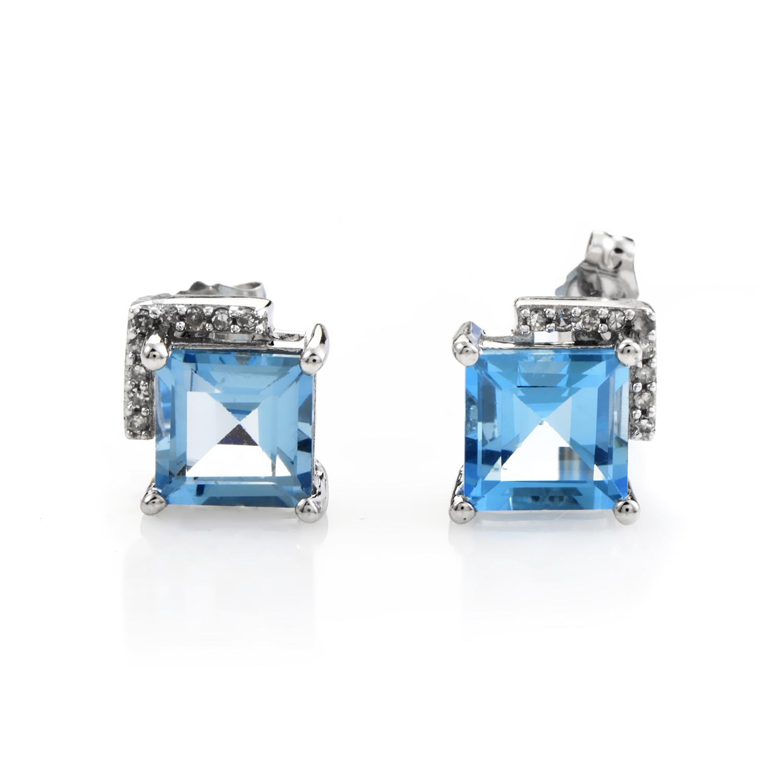 14K White Gold Topaz & Diamond Stud Earrings ER4-14806WTB