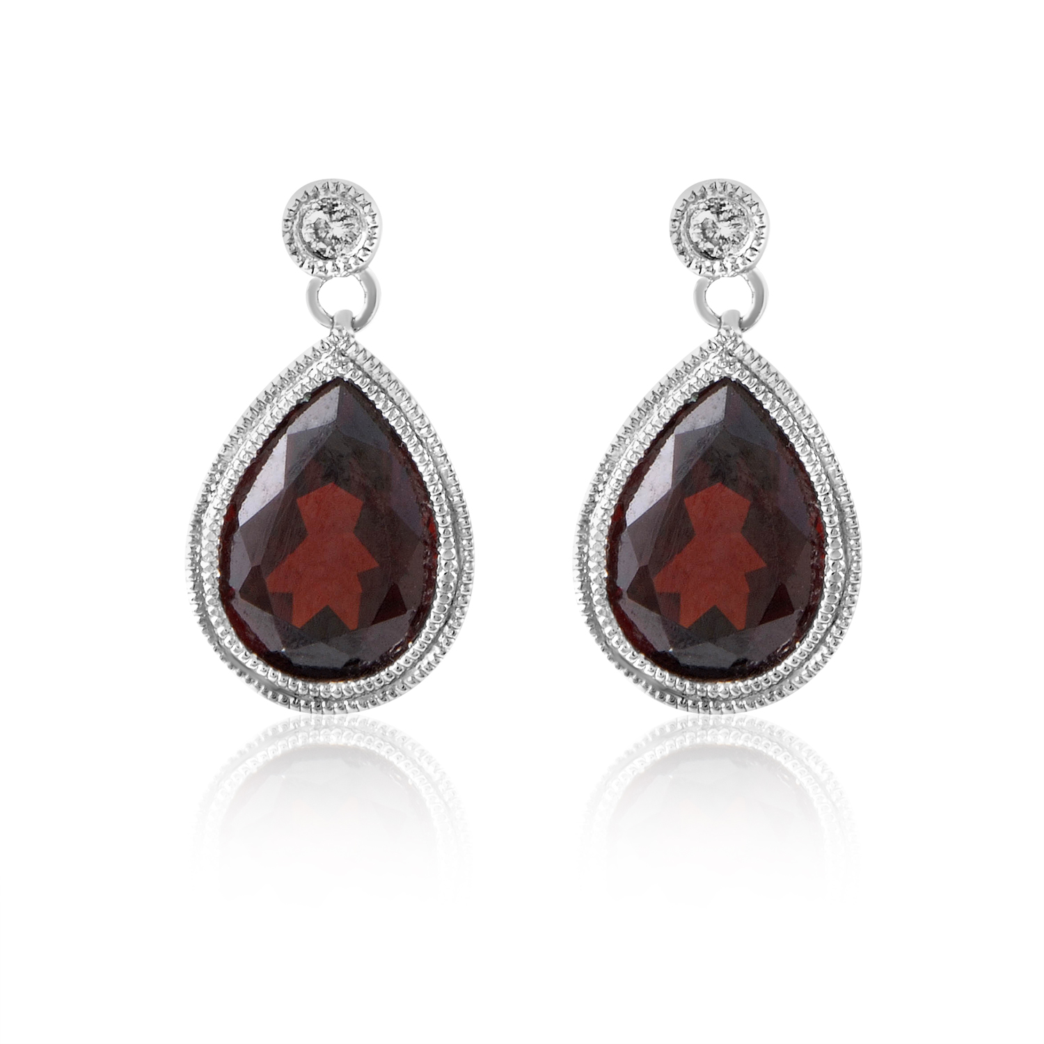 Women's 14K White Gold Garnet & Diamond Teardrop Earrings ER4-14810WGAR