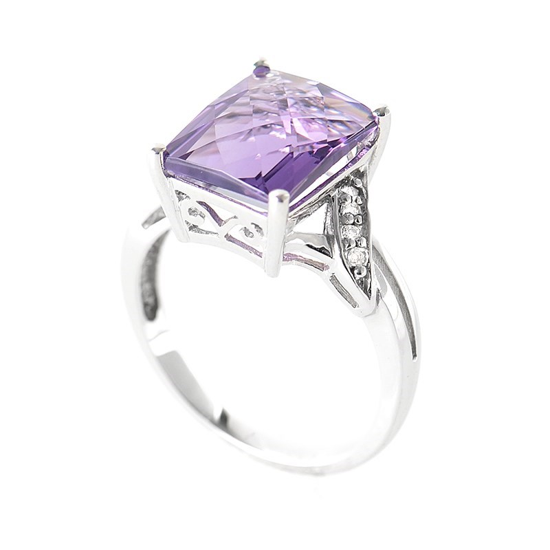 10K White Gold Diamond and Amethyst Gemstone Ring LA1-01322