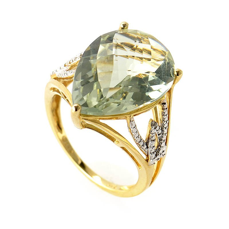 14K Yellow Gold Diamond & Green Amethyst Ring