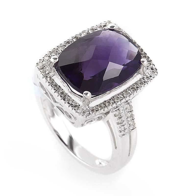 14K White Gold Amethyst & Diamond Ring LA4-02818WAM
