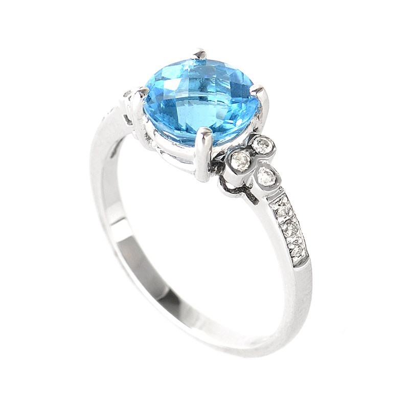 Women's 10K White Gold Diamond & Topaz Gemstone Ring LB1-01312