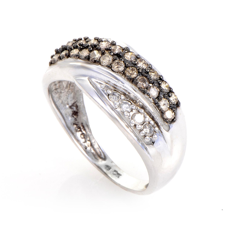 10K White Gold Brown & White Diamond Band Ring