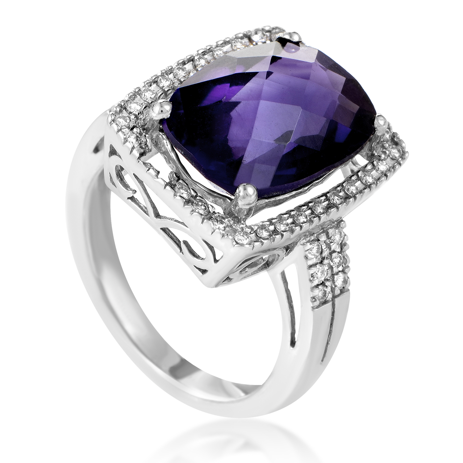Women's 14K White Gold Diamond & Amethyst Cocktail Ring LB4-02475WAM