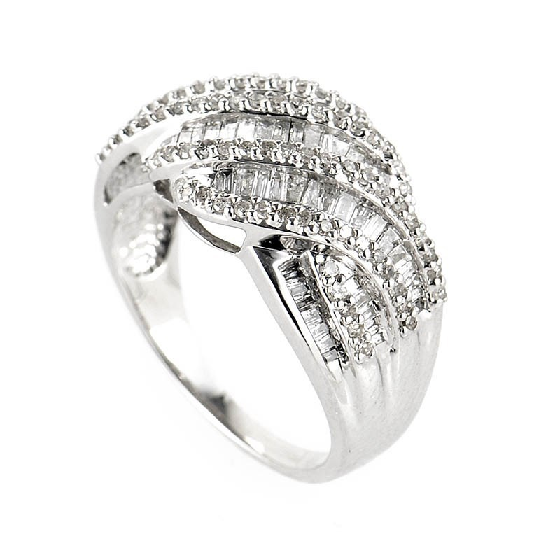 14K White Gold Braided Diamond Band Ring