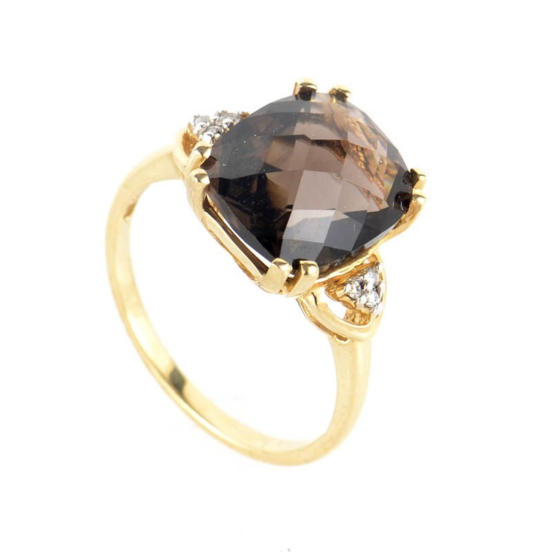 10K Yellow Gold Smoky Topaz & Diamond Ring LC1-01204