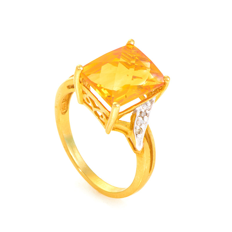 10K Yellow Gold Diamonds & Citrine Ring LC1-01270C