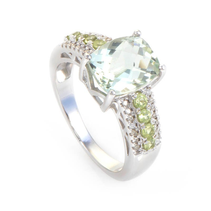 10K White Gold Diamond & Green Amethyst Ring
