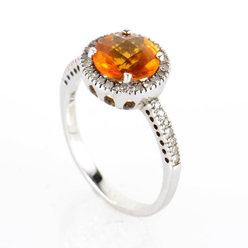 10K White Gold Orange Citrine & Diamond Ring LC1-02329
