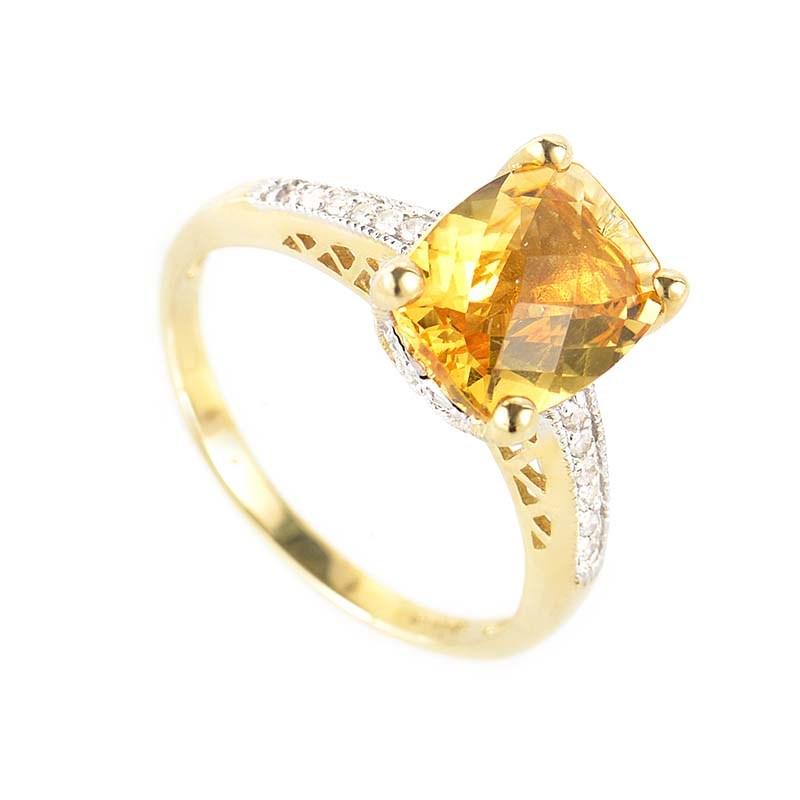 14K Multi-Gold Citrine & Diamond Ring LC4-01368