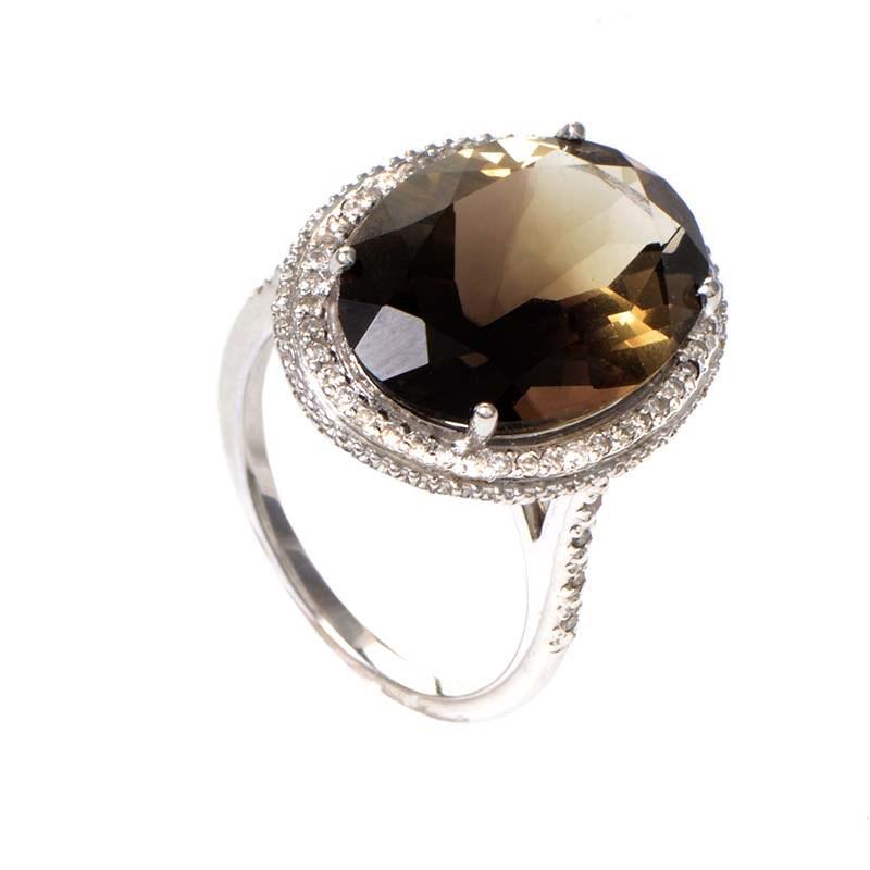 14K White Gold Smokey Quartz & Diamond Ring