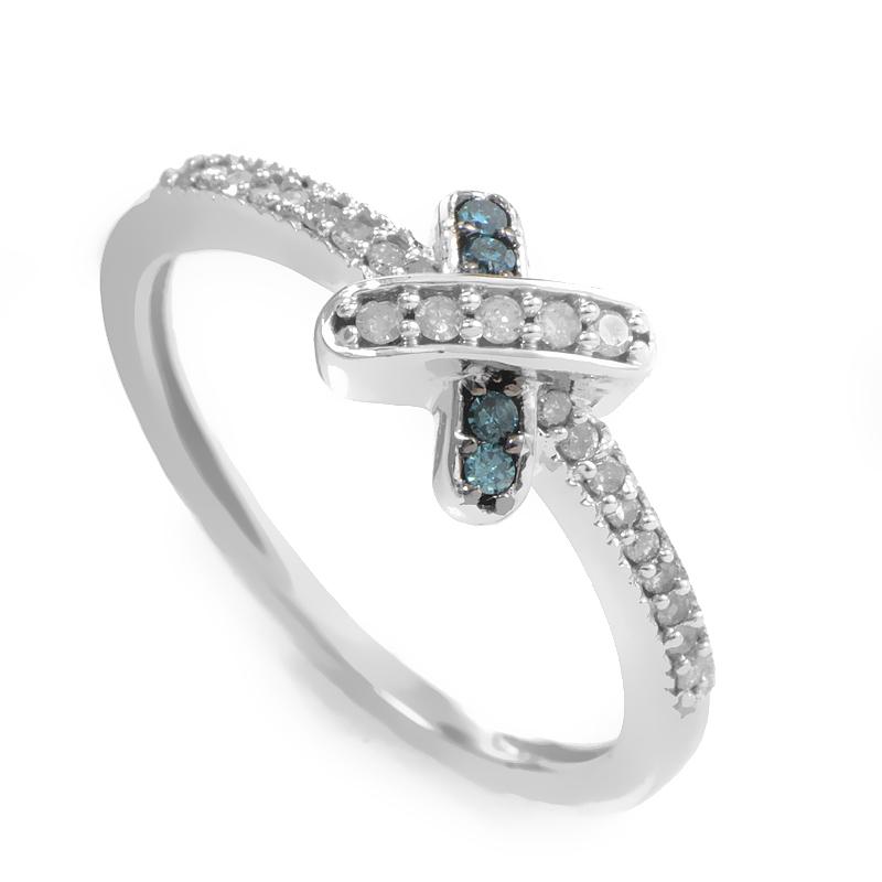10K White Gold Blue & White Diamond