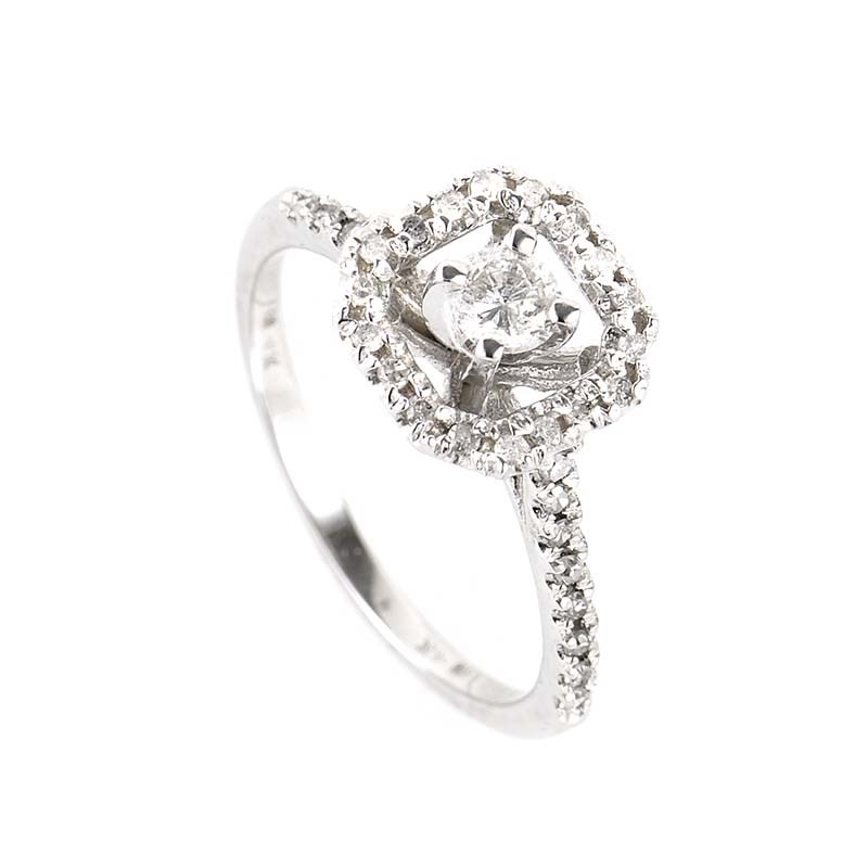 Elegant 14K White Gold Engagement Ring