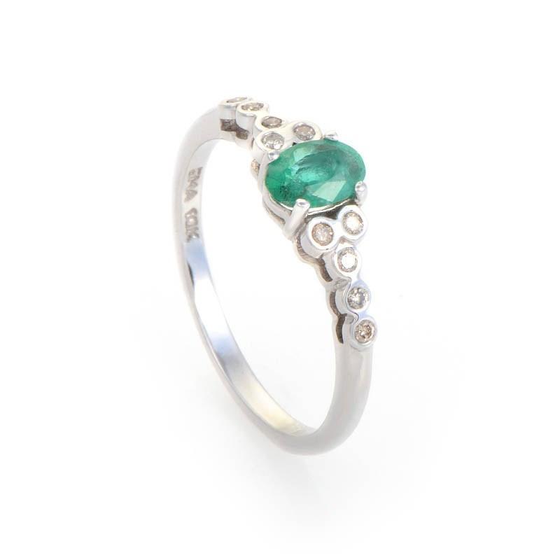 14K White Gold Diamond & Emerald Ring LE1-01276