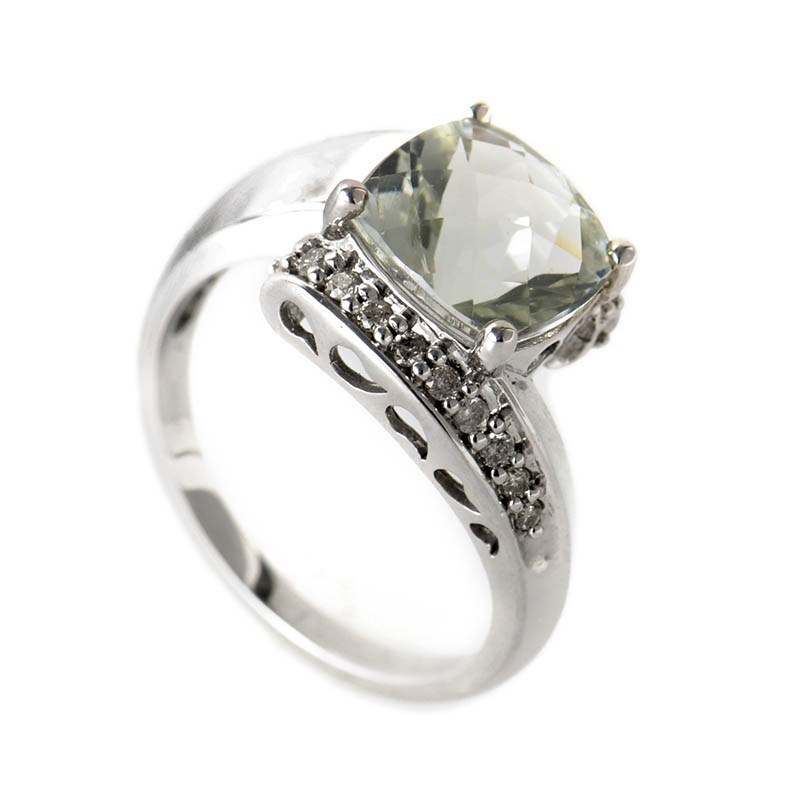 14K White Gold Diamond & Green Amethyst Ring