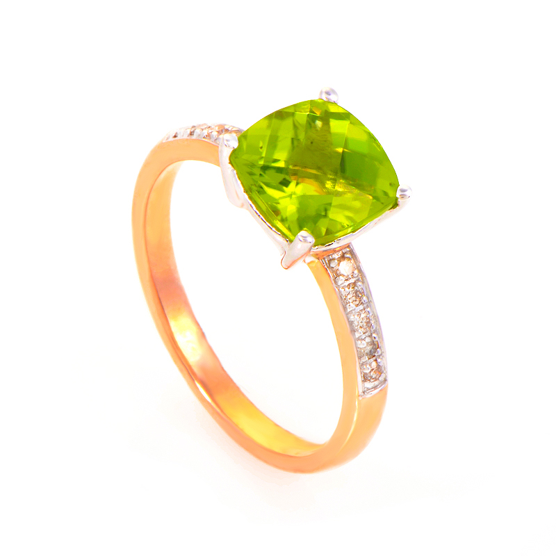 10K Rose and White Gold Peridot and Diamond Ring