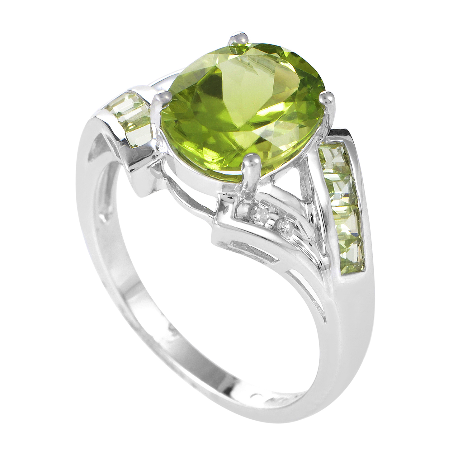 Women's 14K White Gold Diamond & Peridot Ring LP4-01389WPE
