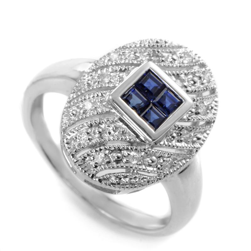 14K White Gold Blue Sapphire Diamond Pave Ring LS4-01438WSA