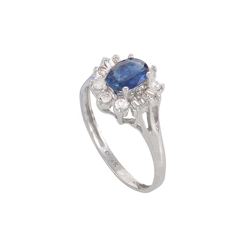14K White Gold Sapphire Diamond Ring LS4-05525WSA