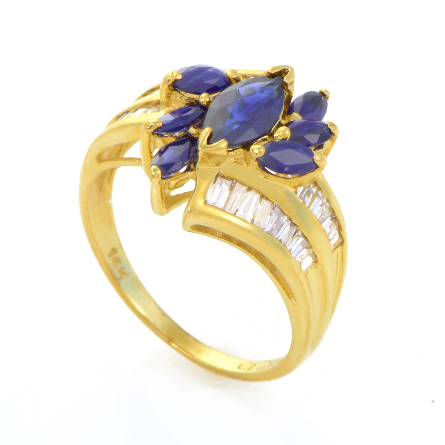 14K Yellow Gold Sapphire Flower & Diamond Ring