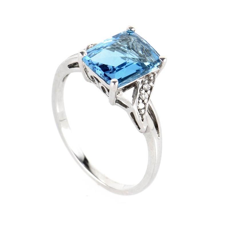 10K White Gold Rectangular Topaz and Diamond Ring