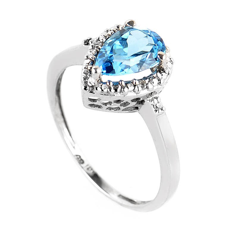 10K White Gold Diamond & Pear Shaped Topaz Ring