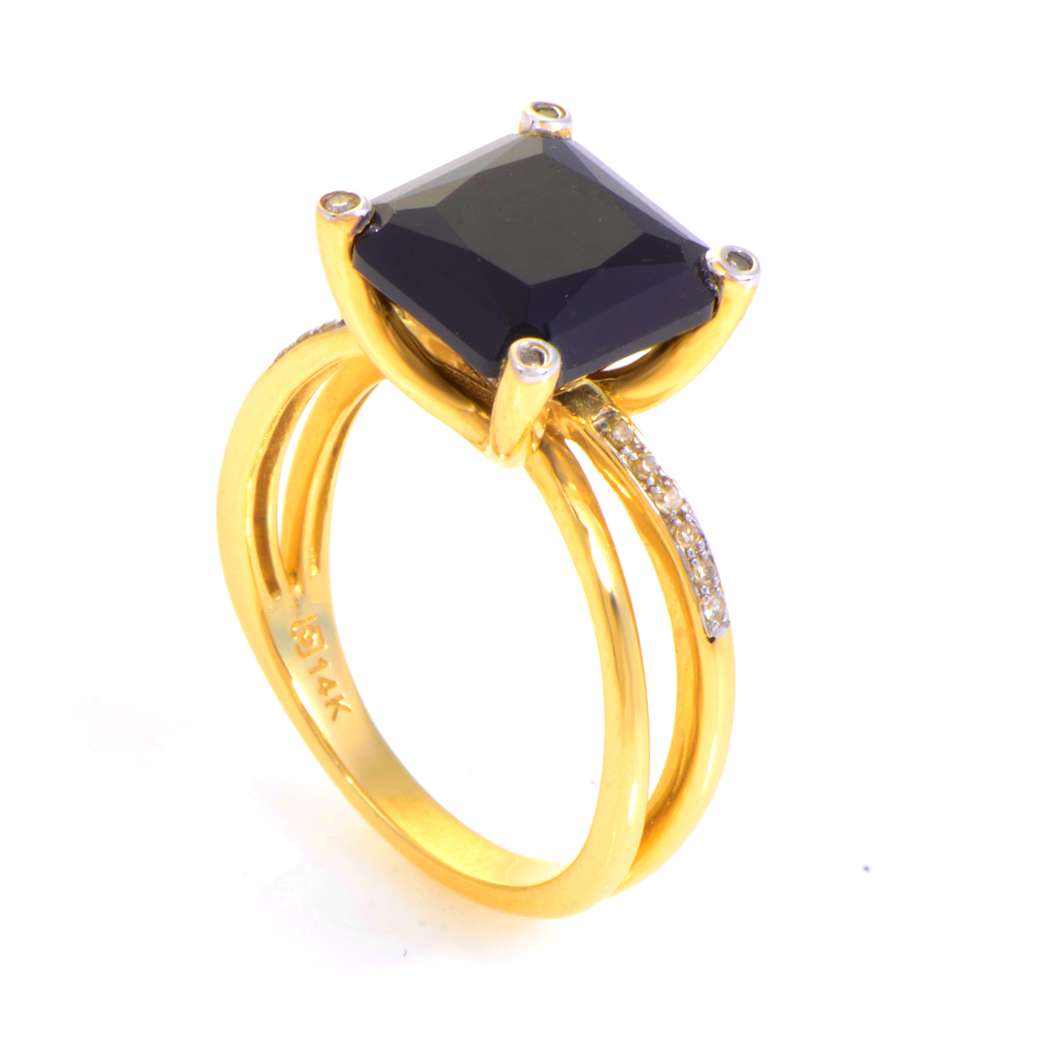 14K Yellow Gold Onyx & Diamond Ring
