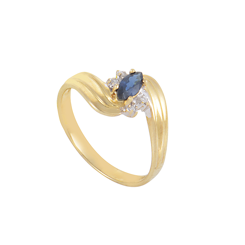 10K Yellow Gold Sapphire & Diamond Promise Ring MFCO28-010813