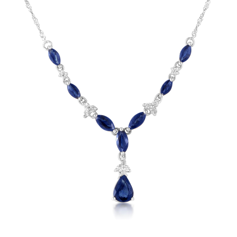 14K White Gold Sapphire & Diamond Necklace NK4-10010WSA