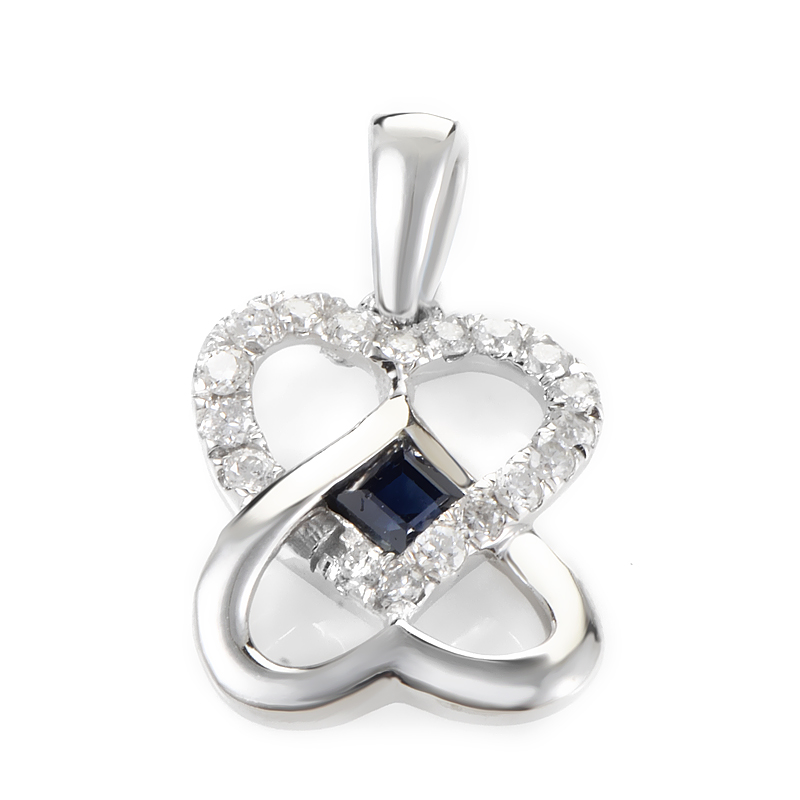 14K White Gold Sapphire & Diamond Overlapping Hearts Pendant P3599WSA