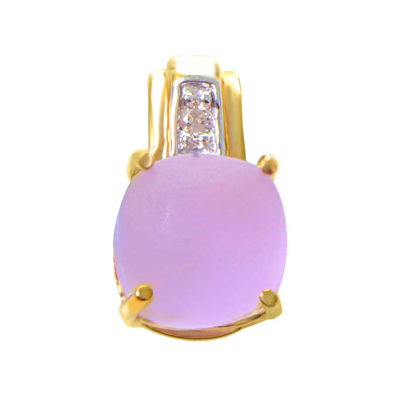 14K Yellow Gold Diamond & Matte Amethyst Pendant P6438YACAP