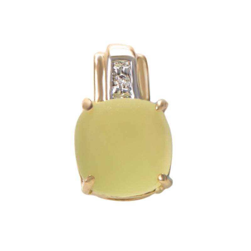 14K Yellow Gold Diamond & Lemon Quartz Square Pendant P6438YLQCAP
