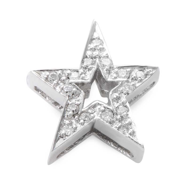 14K White Gold Diamond Pave Star Pendant P8571W