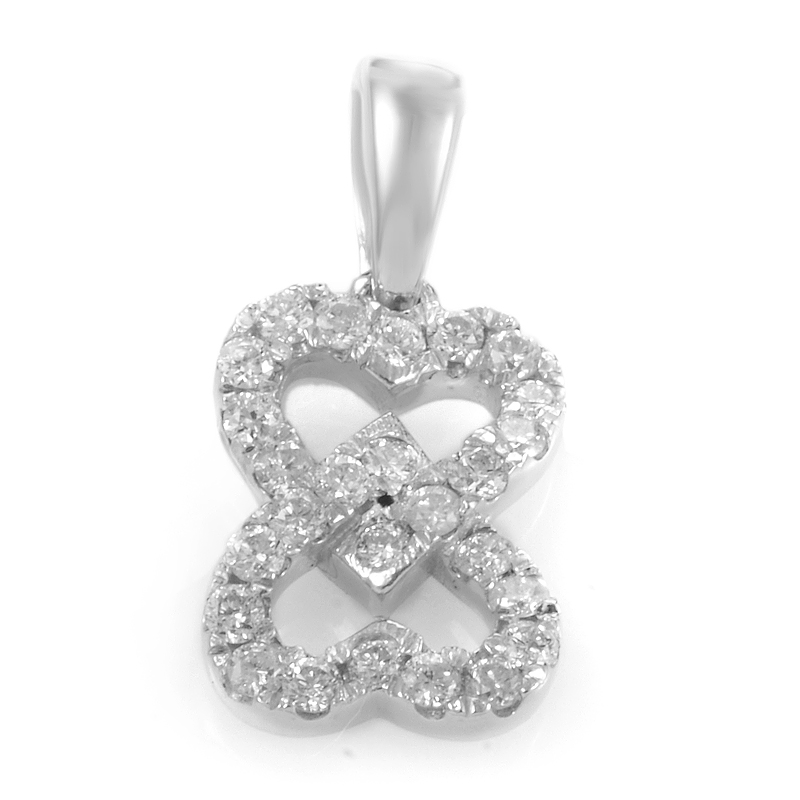 14K White Gold Diamond Pave Overlapping Hearts Pendant P9751W