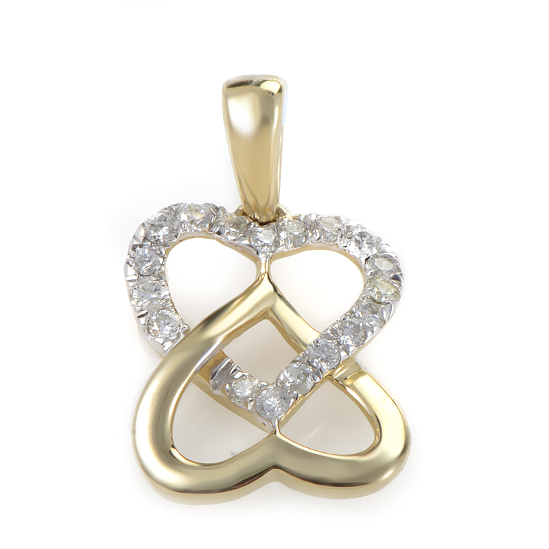14K Yellow Gold & Diamond Overlapping Heart Pendant P9752Y