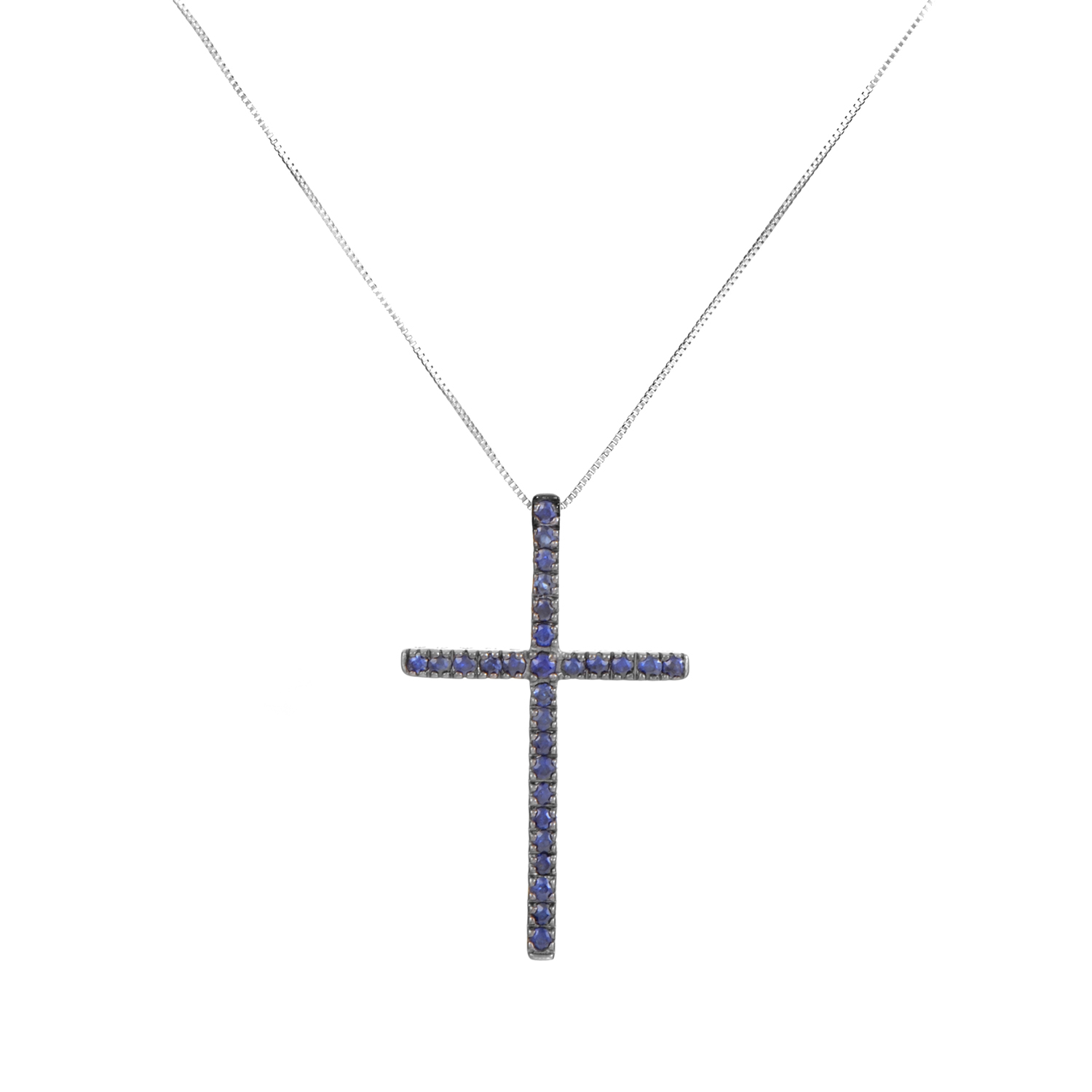 14K White Gold Sapphire Cross Pendant Necklace PC4-10027WSA