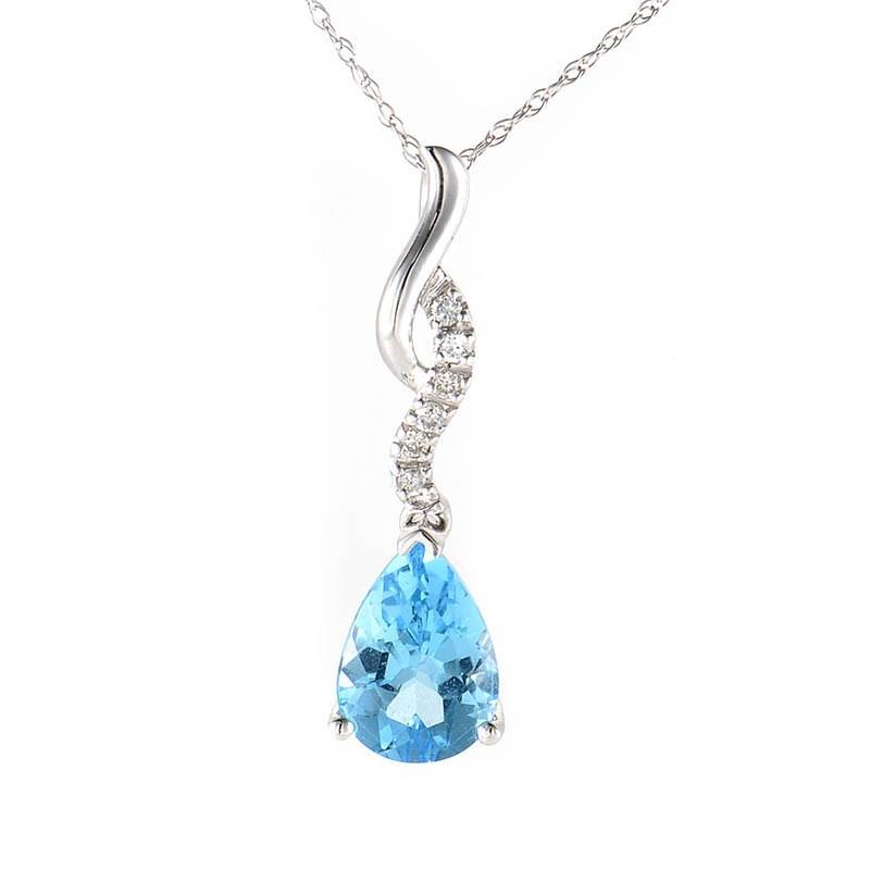 10K White Gold Pear Shaped Topaz & Diamond Pendant Necklace
