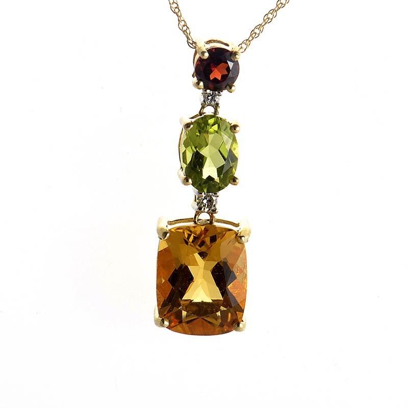 10K Yellow Gold Multi-Gemstone & Diamond Pendant Necklace