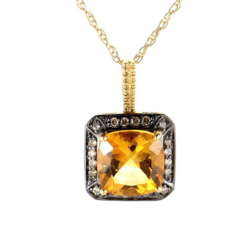 10K Yellow Gold Citrine & Cognac Diamond Pendant Necklace