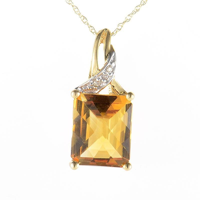 10K Yellow Gold Diamonds & Citrine Pendant Necklace