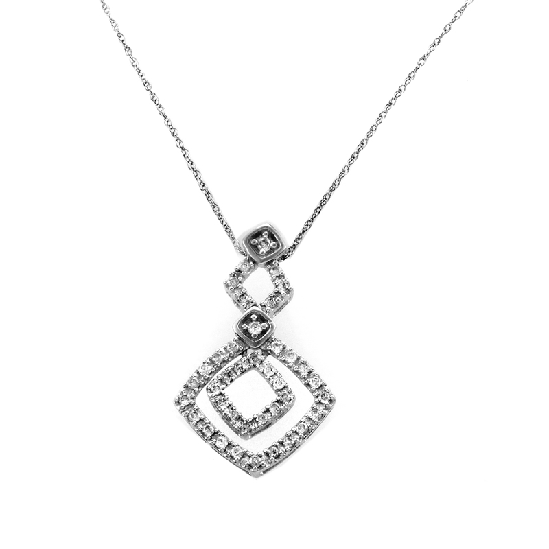 10K White Gold Diamond Pendant Necklace PD1-05525