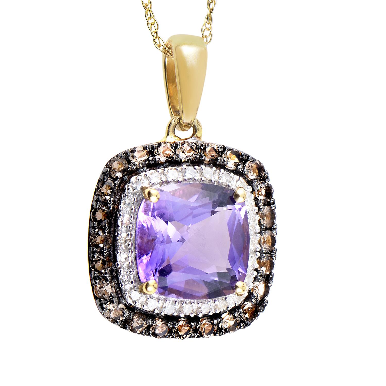 14K Yellow Gold Diamond & Amethyst Pendant Necklace PD4-15077YAM