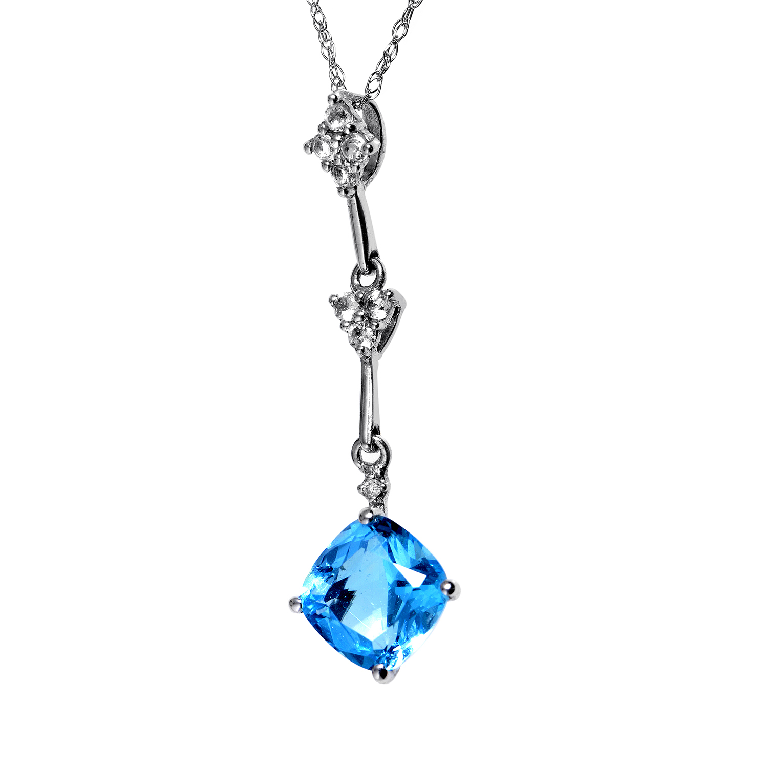 Women's 14K White Gold Diamond & Blue Topaz Pendant Necklace PD4-15180WTB