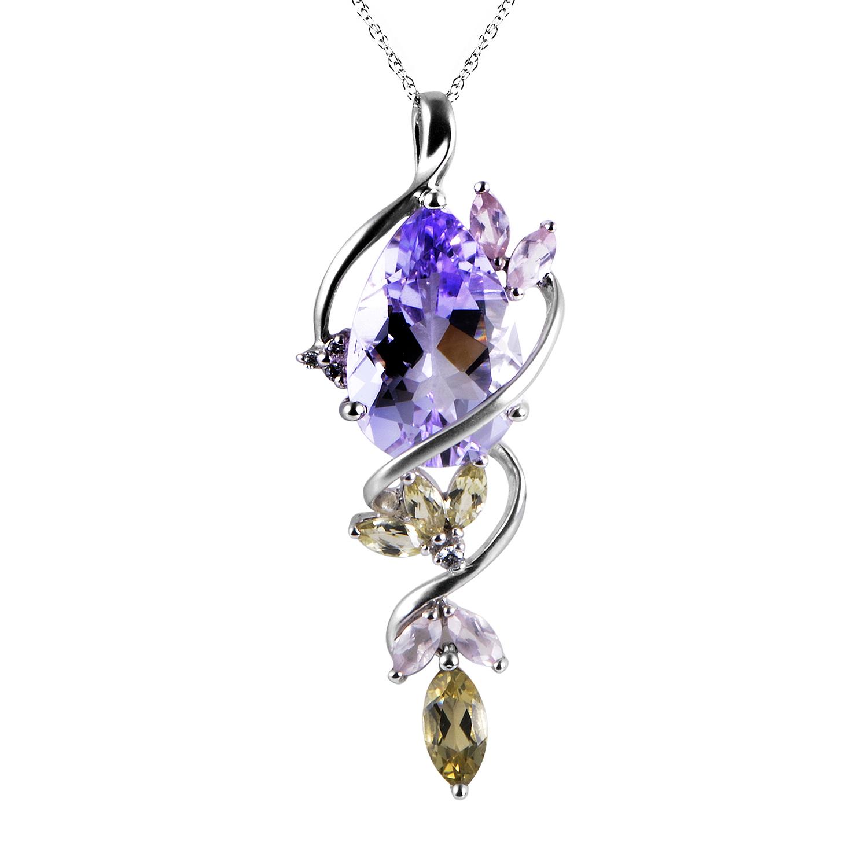 Women's 14K White Gold Diamond & Gemstone Pendant Necklace PD4-15233WAM