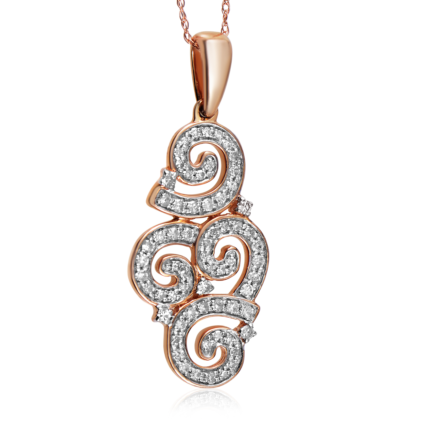 14K Rose Gold Diamond Swirl Pendant Necklace PD4-15237R
